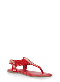 Studded Elastic Thong Sandals - RED F/S - 1112004067886