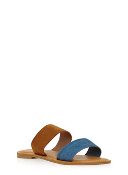 Double Strap Slide Sandals - BLUE DENIM /COGNAC - 1112004068330