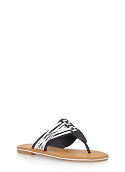 Thong Sandals with Woven Accents - BLACK - 1112004068335