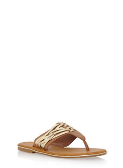 Thong Sandals with Woven Accents - TAN - 1112004068335