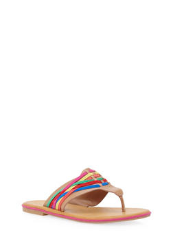 Thong Sandals with Woven Accents - TAN MULTI - 1112004068335