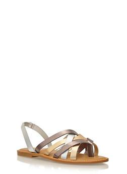 Criss Cross Strap Flat Sandals - 1112004068341