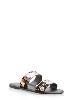 Double Band Flat Sandals - BLACK FABRIC - 1112004068344