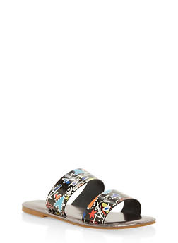 Double Band Flat Slide Sandals - MULTI COLOR - 1112004068344
