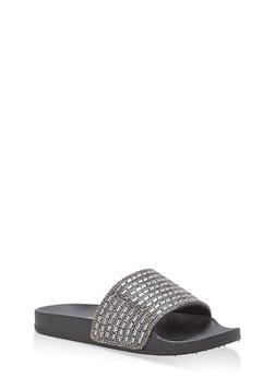 Rhinestone Jeweled Slides - BLACK/BLACK - 1112004068428