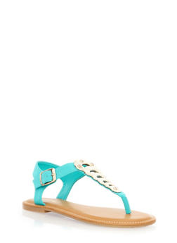 Flat Thong Sandals with Cutout Metallic T-Strap - 1112004068472