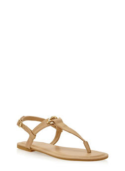 Thong Sandals with Chain Link Hardware Detail - 1112004068482