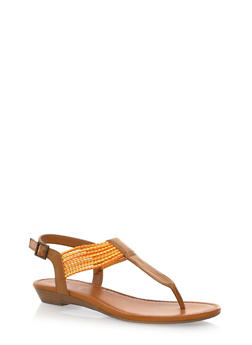 Braided T-Strap Thong Sandals with Mini Wedge - 1112027615621