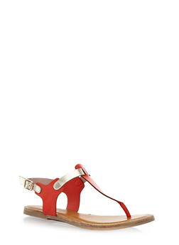 Two Tone T-Strap Thong Sandals - 1112027615784