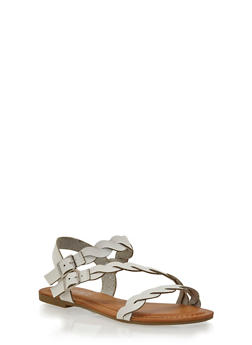 Asymmetrical Braided Ankle Strap Sandals - 1112056637608
