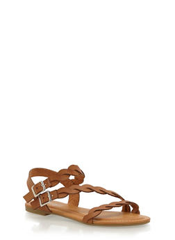 Asymmetrical Braided Ankle Strap Sandals - NATURAL - 1112056637608