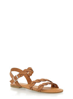 Twist Ankle Strap Sandals - NATURAL - 1112056637609