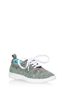 Space Dye Lace Up Running Sneaker - MINT/BLACK - 1112057262633