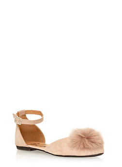 Faux Suede Mary Jane Flats with Pom Pom Detail - 1112057263522