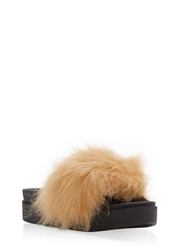 Faux Fur Platform Slides - BEIGE - 1112061713437