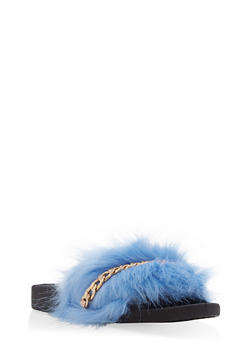 Faux Fur Chain Detail Slides - BABY BLUE - 1112061717221