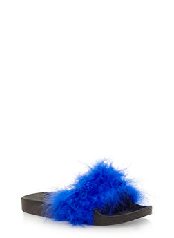 Fuzzy Faux Fur Slides - BLUE - 1112061717277