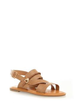 Open Toe Gladiator Slingback Sandals with Rope Trim,TAN,medium