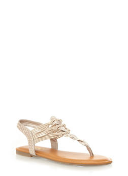 Strappy Thong Sandals with Studded Accents,NATURAL,medium