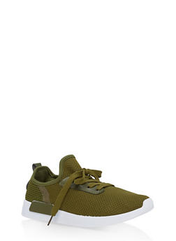 Mesh Knit Lace Up Athletic Sneakers - OLIVE - 1112062723464