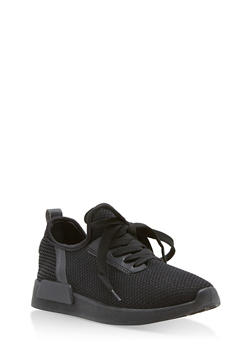 Mesh Knit Lace Up Athletic Sneakers - BLACK PU - 1112062723464