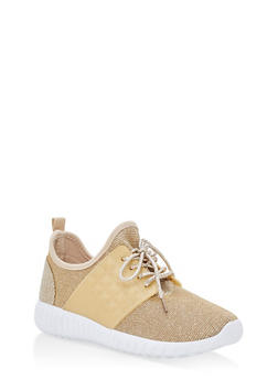 Textured Knit Lace Up Sneakers - GOLD - 1112062723532