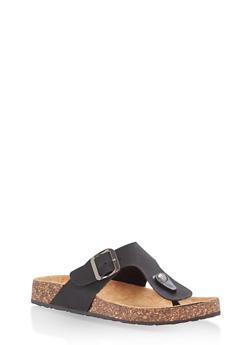 Thong Footbed Sandals - BLACK - 1112062727298