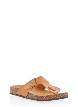 Thong Footbed Sandals - TAN - 1112062727298