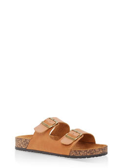 Double Buckle Footbed Sandals - TAN PU - 1112062727300