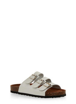 Slides with Triple Strap and Buckle Detail - WHITE - 1112073541701