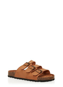 Slides with Triple Strap and Buckle Detail - TAN - 1112073541701