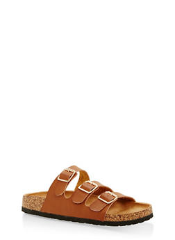 Three Strap Footbed Sandals - TAN - 1112073541702
