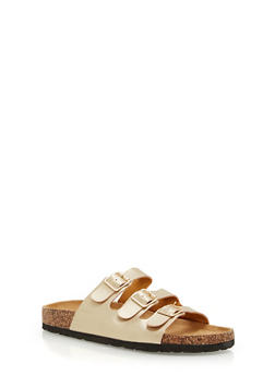 Three Strap Footbed Sandals - GOLD - 1112073541702