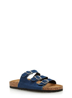 Three Strap Footbed Sandals - BLUE DENIM - 1112073541702