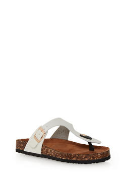 Thong Slide Sandals with Buckle Strap - WHITE - 1112073541703