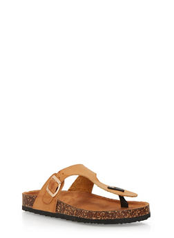 Thong Slide Sandals with Buckle Strap - TAN - 1112073541703