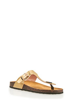 Thong Slide Sandals with Buckle Strap - 1112073541703
