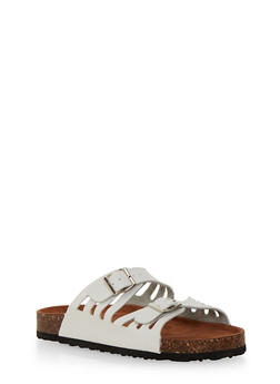 Laser Cut Slide Sandals with Buckle Straps - WHITE - 1112073541707