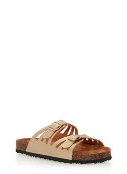 Laser Cut Slide Sandals with Buckle Straps - 1112073541707