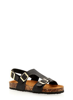 Three Buckle Foot Bed Sandals - 1112073541724