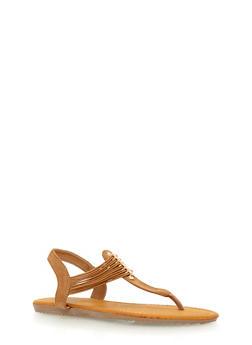 Multi Elastic Strap Thong Sandals - TAN F/S - 1112073541734