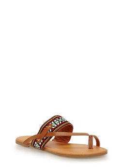 Faux Leather Double Strap Toe Ring Sandal with Studded Detail - 1112073541735