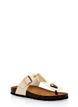 Cork Sole Sandals with Silver Bar Accents - BEIGE - 1112073541744
