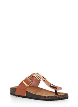 Cork Sole Sandals with Metal Fringe - 1112073541744