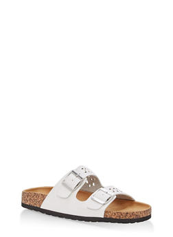 Cutout Double Strap Footbed Slide Sandals - WHITE - 1112073546254