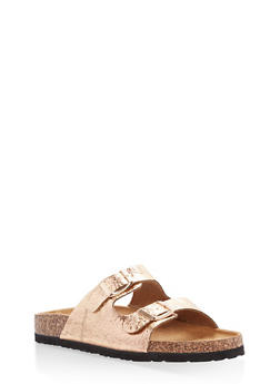 Metallic Double Strap Footbed Sandals - ROSE GOLD CRINKLE - 1112073548152
