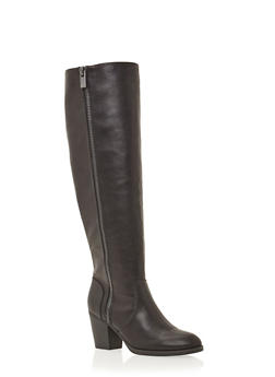 Wide Calf Knee High Boots with Zip Trim - 1113004062838