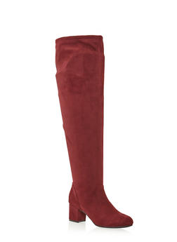 Wide Calf Over the Knee Boots with Drawstring - 1113004063889