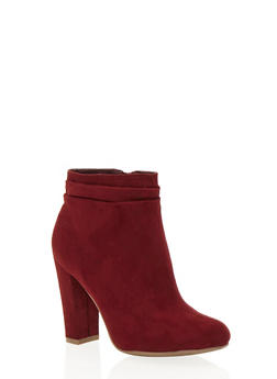 Faux Suede Ankle Boots with Chunky Heels - 1113004064462