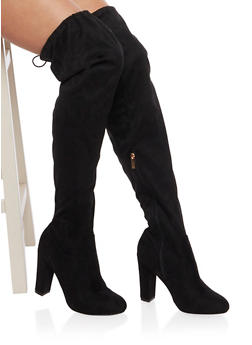 Over the Knee Wide Calf Boots in Faux Suede - BLACK - 1113004065455